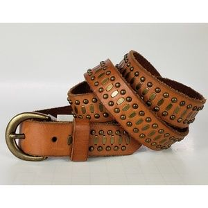 AEO Distressed Leather Tobacco Gold Stud Belt